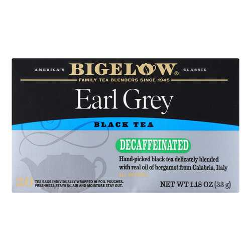 Bigelow Tea Earl Grey Decaffeinated Black Tea - Case of 6 - 20 Bags