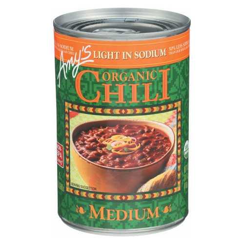 Amy's Organic Low Sodium Medium Chili - Case of 12 - 14.7 oz
