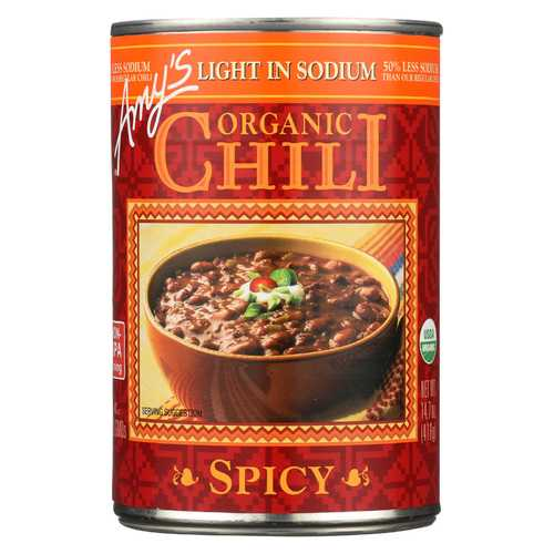 Amy's Organic Low Sodium Spicy Chili - Case of 12 - 14.7 oz