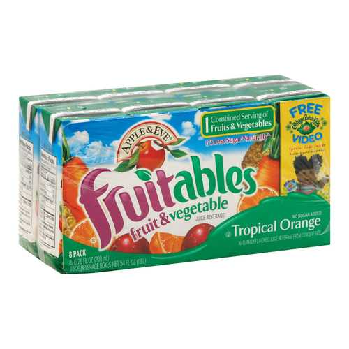 Apple and Eve Fruitables Juice Beverage - Tropical Orange - Case of 5 - 200 ml