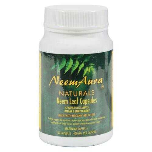 Neem Aura Organic Neem Leaf - 60 Vegetarian Capsules