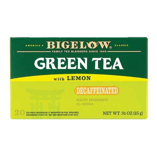 Bigelow Tea Decaffeinated Tea - Green Tea with Lemon - Case of 6 - 20 BAG