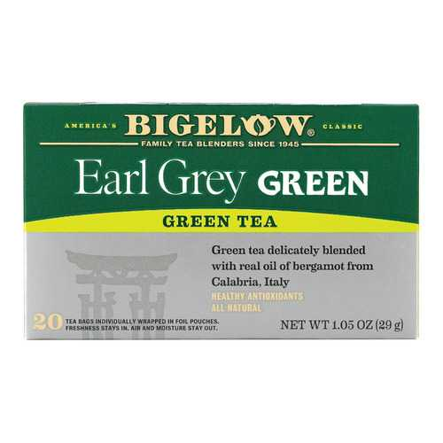 Bigelow Tea Green Tea - Earl Grey - Case of 6 - 20 BAG