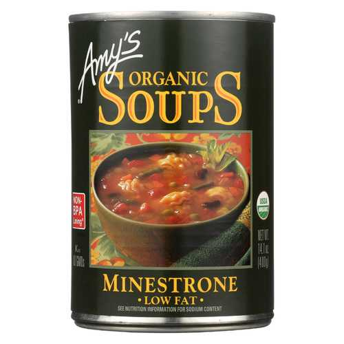 Amy's Organic Low Fat Minestrone Soup - Case of 12 - 14.1 oz