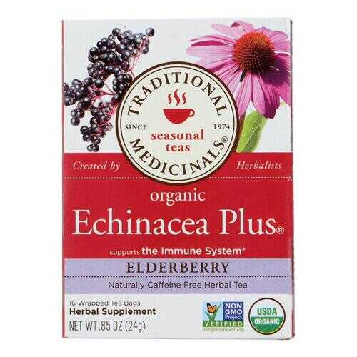Traditional Medicinals Organic Echinacea Elder Tea -Caffeine Free - Case of 6 - 16 Bags