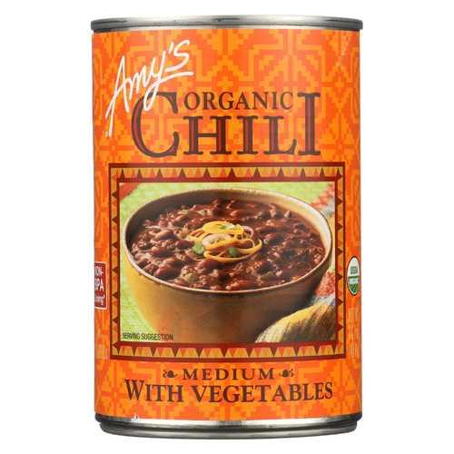 Amy's Organic Medium Chili with Veggies - Case of 12 - 14.7 oz