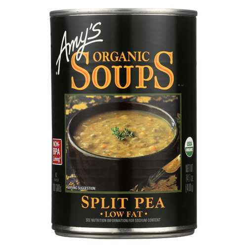 Amy's Organic Fat Free Split Pea Soup - Case of 12 - 14.1 oz