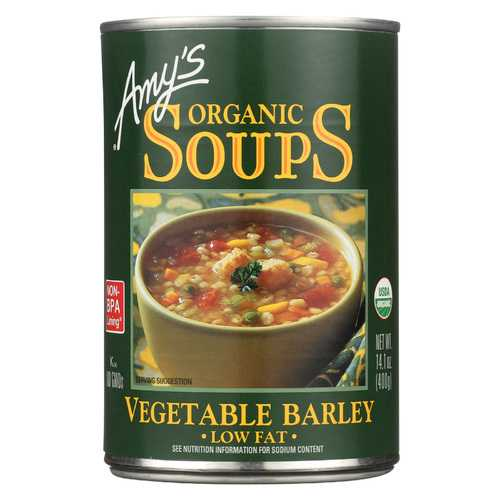 Amy's Organic Low Fat Vegetable Barley Soup - Case of 12 - 14.1 oz