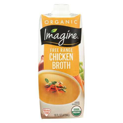 Imagine Foods Chicken Broth - Free Range - Case of 12 - 16 Fl oz.