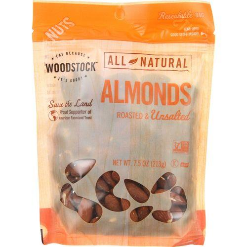 Woodstock Almonds - Whole - Roasted - Unsalted - Case of 8 - 7.5 oz.