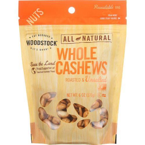 Woodstock Cashews - Roasted - Unsalted - Case of 8 - 7 oz.