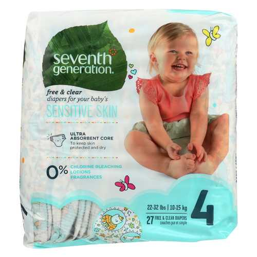 Seventh Generation Free and Clear Baby Diapers - Stage 4 - Case of 4 - 27 Count