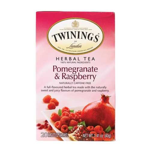 Twining's Tea Herbal Tea - Pomegranate and Raspberry - Case of 6 - 20 Bags