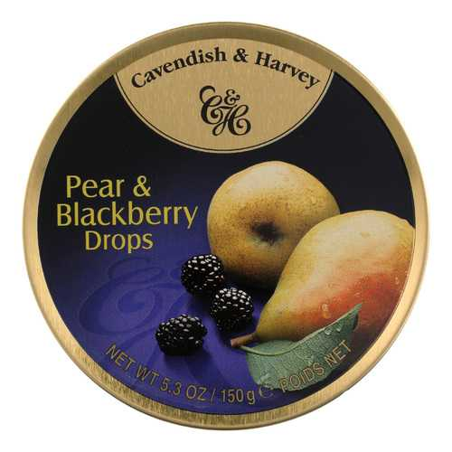 Cavendish and Harvey Fruit Drops Tin - Pear and Blackberry - 5.3 oz - Case of 12