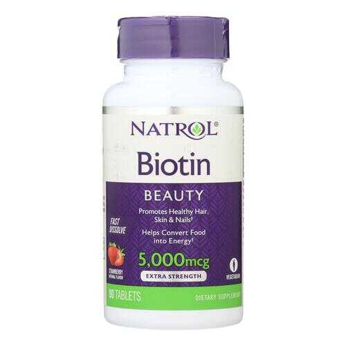 Natrol Biotin - Fast Dissolve - Strawberry - 5000 mcg - 90 Tablets