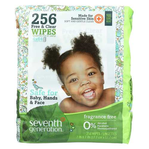 Seventh Generation Free and Clear Baby Wipes - Refills - Case of 3 - 256 Count