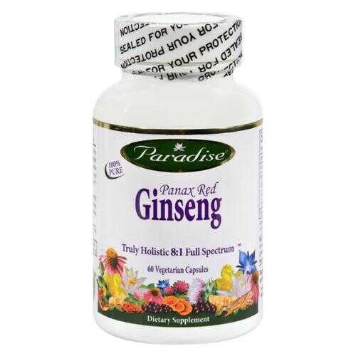 Paradise Herbs Panax Red Ginseng - 60 Vegetarian Capsules