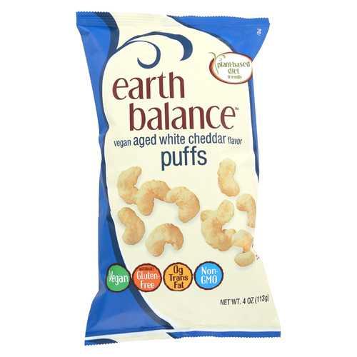 Earth Balance Vegan Puffs - Aged White Cheddar - Case of 12 - 4 oz.