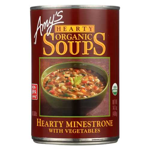Amy's Organic Hearty Vegetable Minestrone Soup - Case of 12 - 14.1 oz