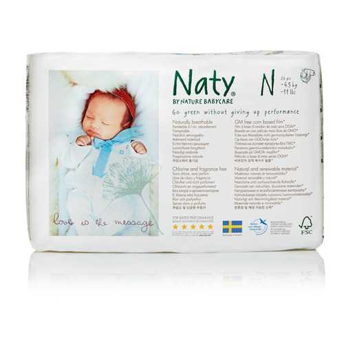 Naty - Baby Diaper Size 0 Newborn - Case of 4 - 26 CT