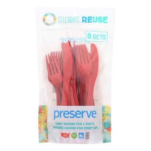 Preserve Heavy Duty Cutlery Sets - Pepper Red - 8 Sets - 24 Pieces total