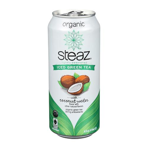 Steaz Lightly Sweetened Green Tea - Coconut Water - Case of 12 - 16 Fl oz.
