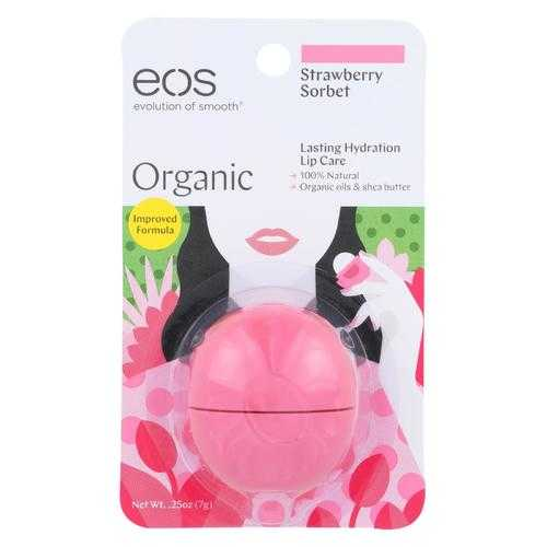 Eos Products Lip Balm - Strawberry Sorbet - Case of 6 - .25 oz.