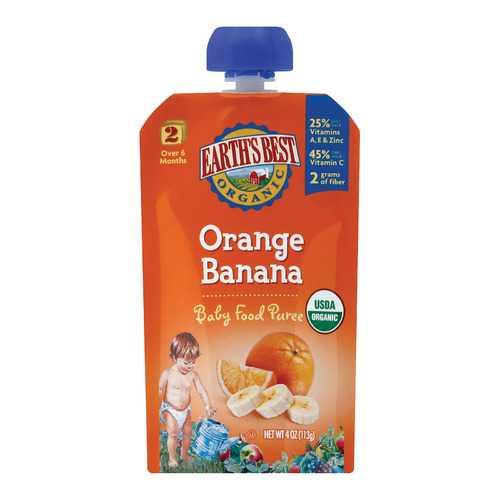Earth's Best Organic Orange Banana Baby Food Puree - Stage 2 - Case of 12 - 4 oz.