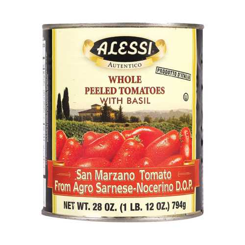 Alessi Whole Peeled Tomatoes - Basil - Case of 12 - 28 oz.