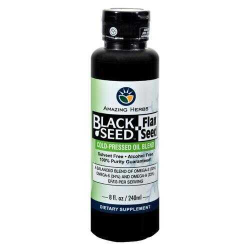 Amazing Herbs - Black Seed Oil Blend - Flax Seed Oil - 8 oz