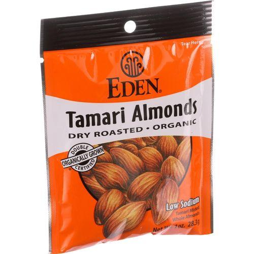 Eden Foods Organic Pocket Snacks - Tamari Almonds - Dry Roasted - 1 oz - Case of 12