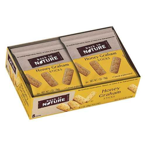 Back To Nature Honey Graham Sticks - Graham Flour and Honey - Case of 4 - 1 oz.