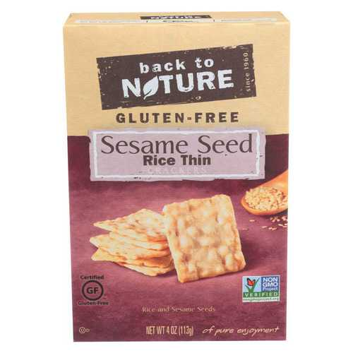 Back To Nature Sesame Seed Rice Thin Crackers - Rice and Sesame Seeds - Case of 12 - 4 oz.