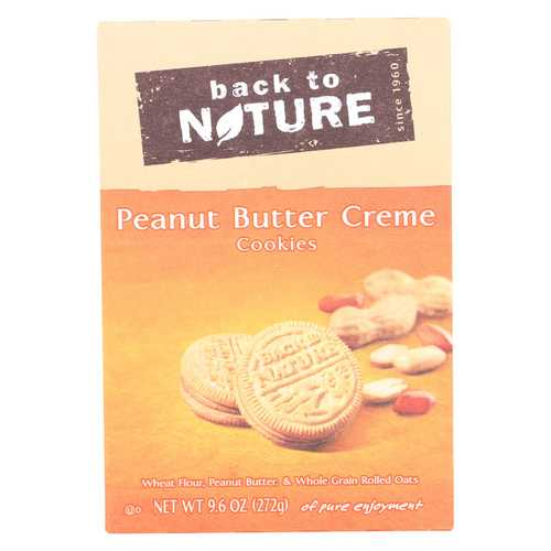 Back To Nature Creme Cookies - Peanut Butter - Case of 6 - 9.6 oz.