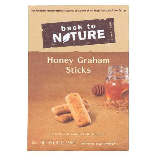 Back To Nature Honey Graham Sticks - Graham Flour and Honey - Case of 6 - 8 oz.