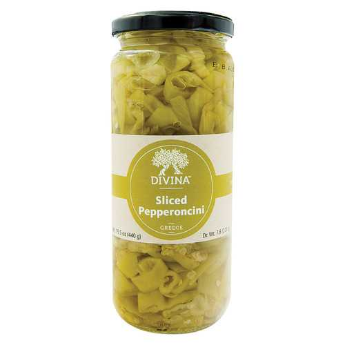 Divina All Natural Sliced Pepperoncini - Case of 6 - 7.75 oz.
