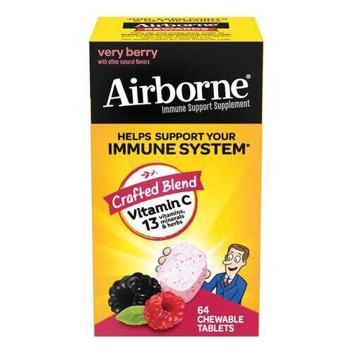 Airborne - Chewable Tablets with Vitamin C - Berry - 64 Tablets