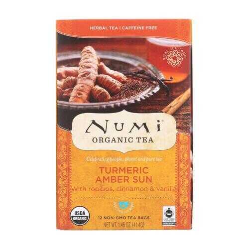 Numi Tea - Organic - Turmeric - Amber Sun - 12 Bags - Case of 6