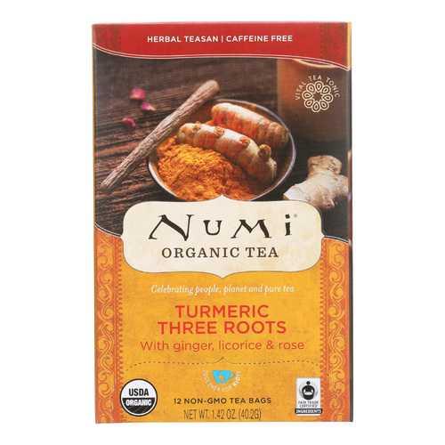 Numi Tea - Organic - Turmeric - Three Roots - 12 Bags - Case of 6