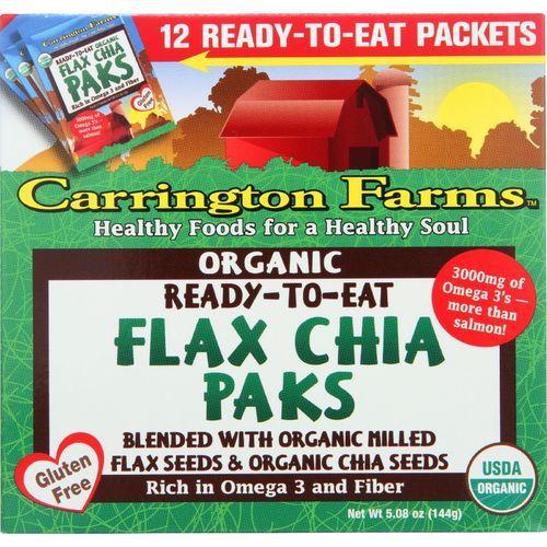 Carrington Farms Flax Paks - Organic - Ready to Eat - Chia - 12 count - case of 6