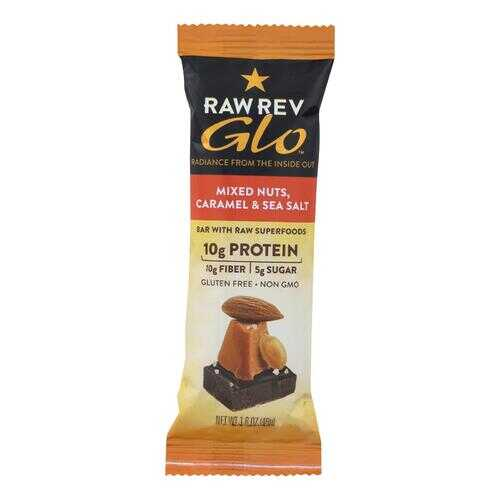 Raw Revolution Glo Bar - Mixed Nuts - Caramel and Sea Salt - 1.6 oz - Case of 12