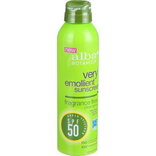 Alba Botanica Sunscreen - Very Emollient - Clear Spray SPF 50 - Fragrance Free - 6 oz