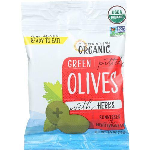 Mediterranean Organic Olives - Organic - Green - Pitted - with Herbs - Snack Pack - 2.5 oz - case of 12