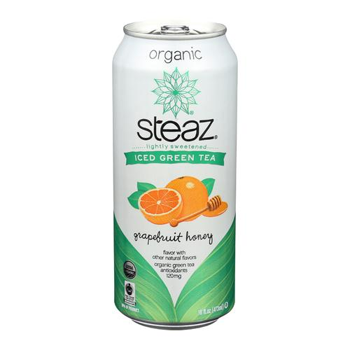Steaz Lightly Sweetened Green Tea - Grapefruit Honey - Case of 12 - 16 Fl oz.