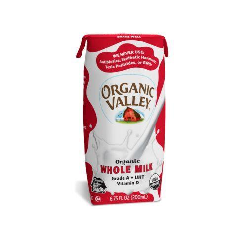 Organic Valley Single Serve Aseptic Milk - Whole - Case of 12 - 6.75oz Cartons