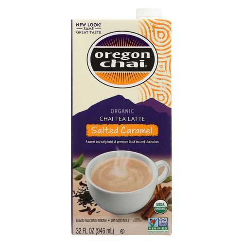 Oregon Chai Tea Latte Concentrate - Salted Caramel - Case of 6 - 32 Fl oz.