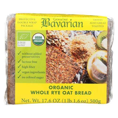 Genuine Bavarian Organic Bread - Whole Rye Oat - Case of 6 - 17.6 oz