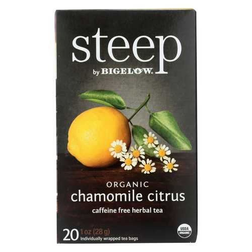 Steep By Bigelow Organic Herbal Tea - Chamomile Citrus - Case of 6 - 20 BAGS