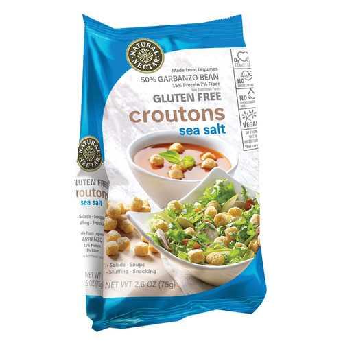 Natural Nectar Croutons - Gluten Free - Sea Salt - Case of 8 - 2.6 oz.
