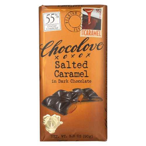 Chocolove Xoxox Dark Chocolate Bar - Salted Caramel - Case of 10 - 3.2 oz